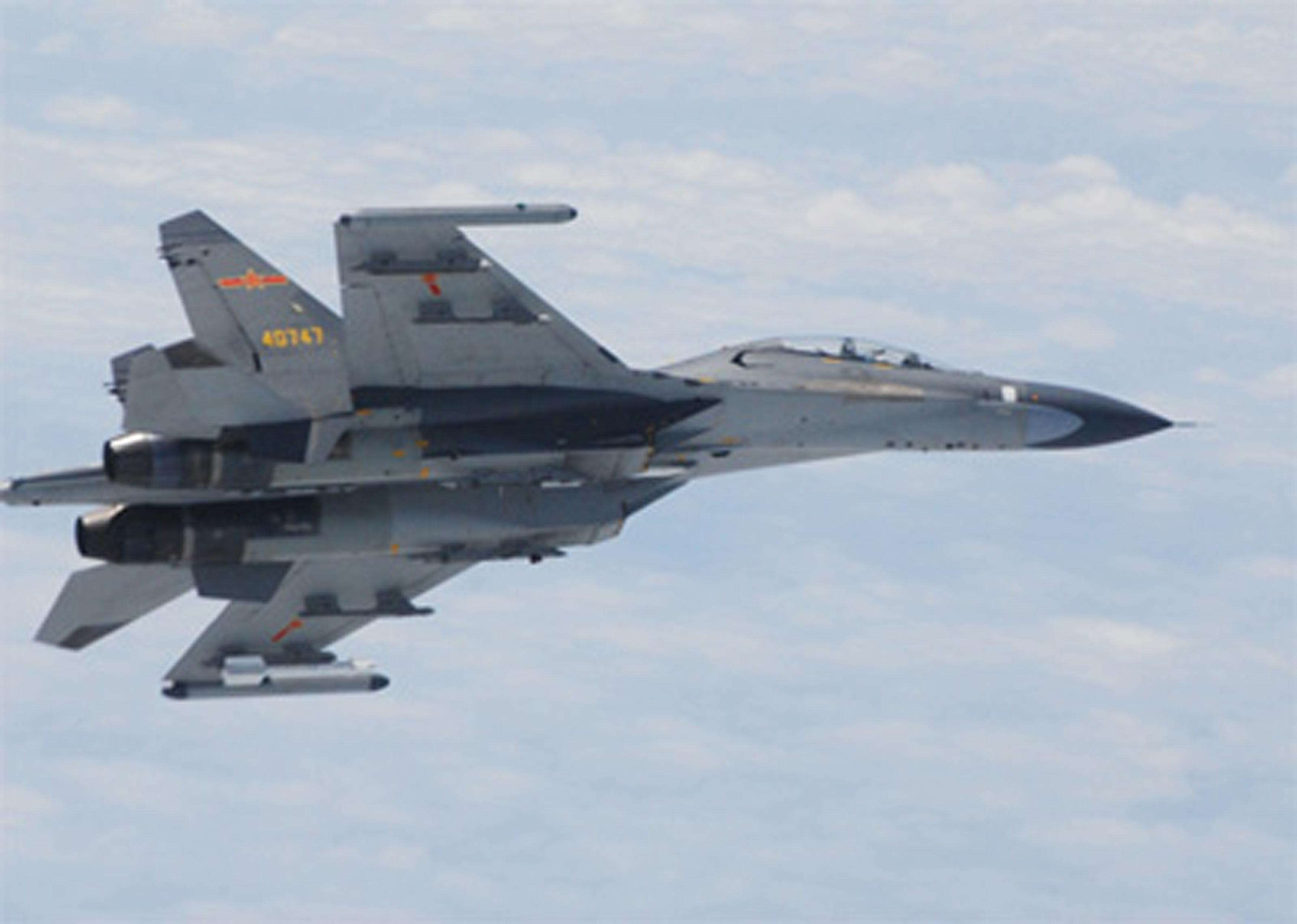 Chinese fighter jet over the East China Sea