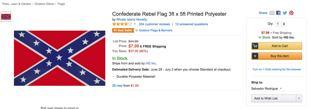 Amazon confederate flag