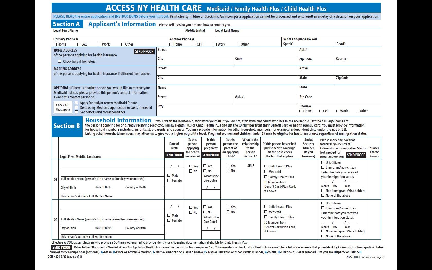 NY Medicaid Application Top