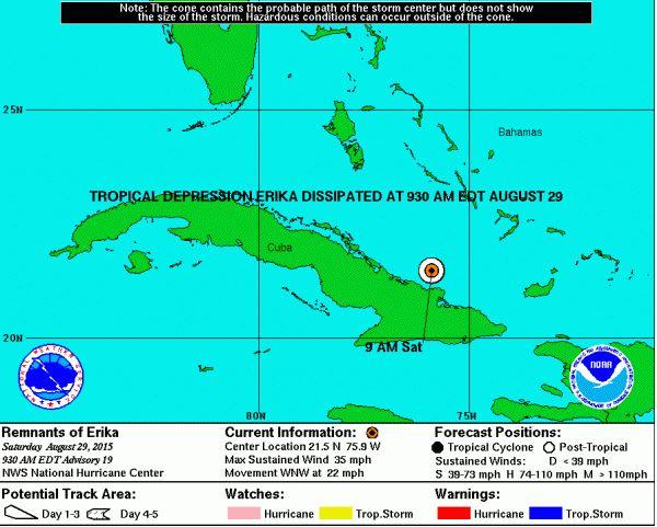 tropical storm erika update  storm dissipates to tropical