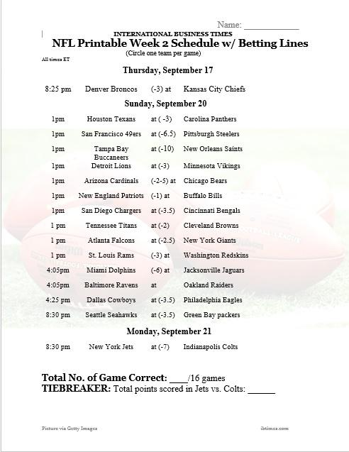 nfl office pool 2015  printable week 2 schedule with betting lines for nfl u2019s opening games