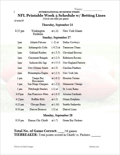 Playful image for nfl week 3 schedule printable