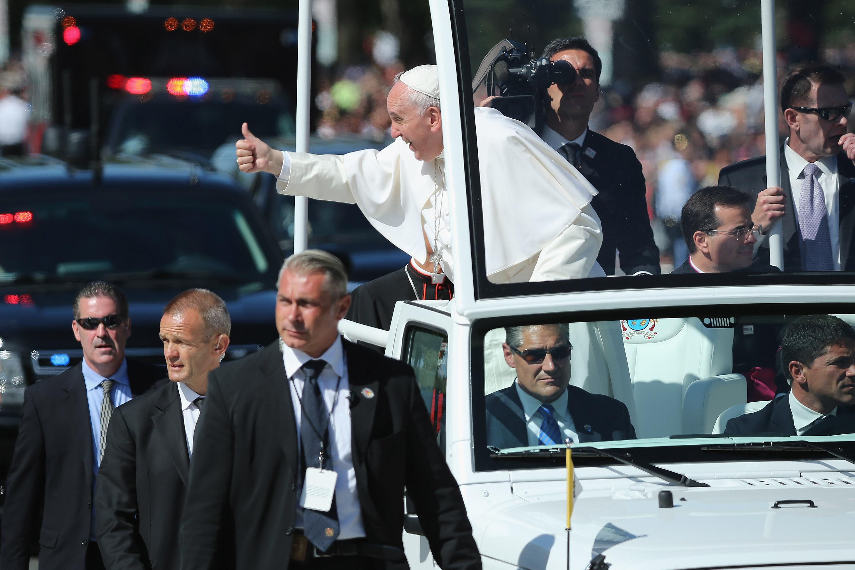 Pope Francis in Jeep National Mall