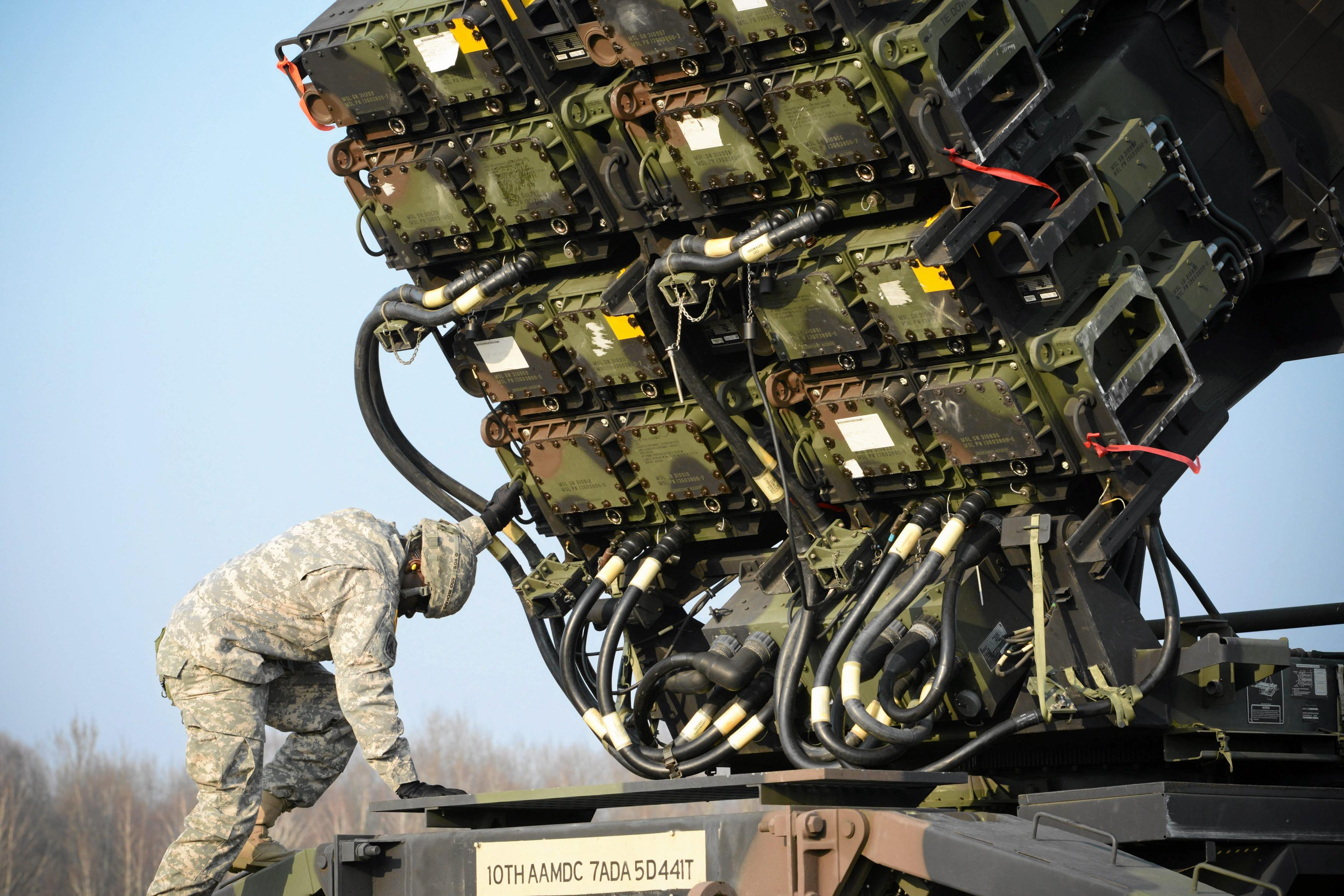 A U.S. soldier inspects a patriot missile system