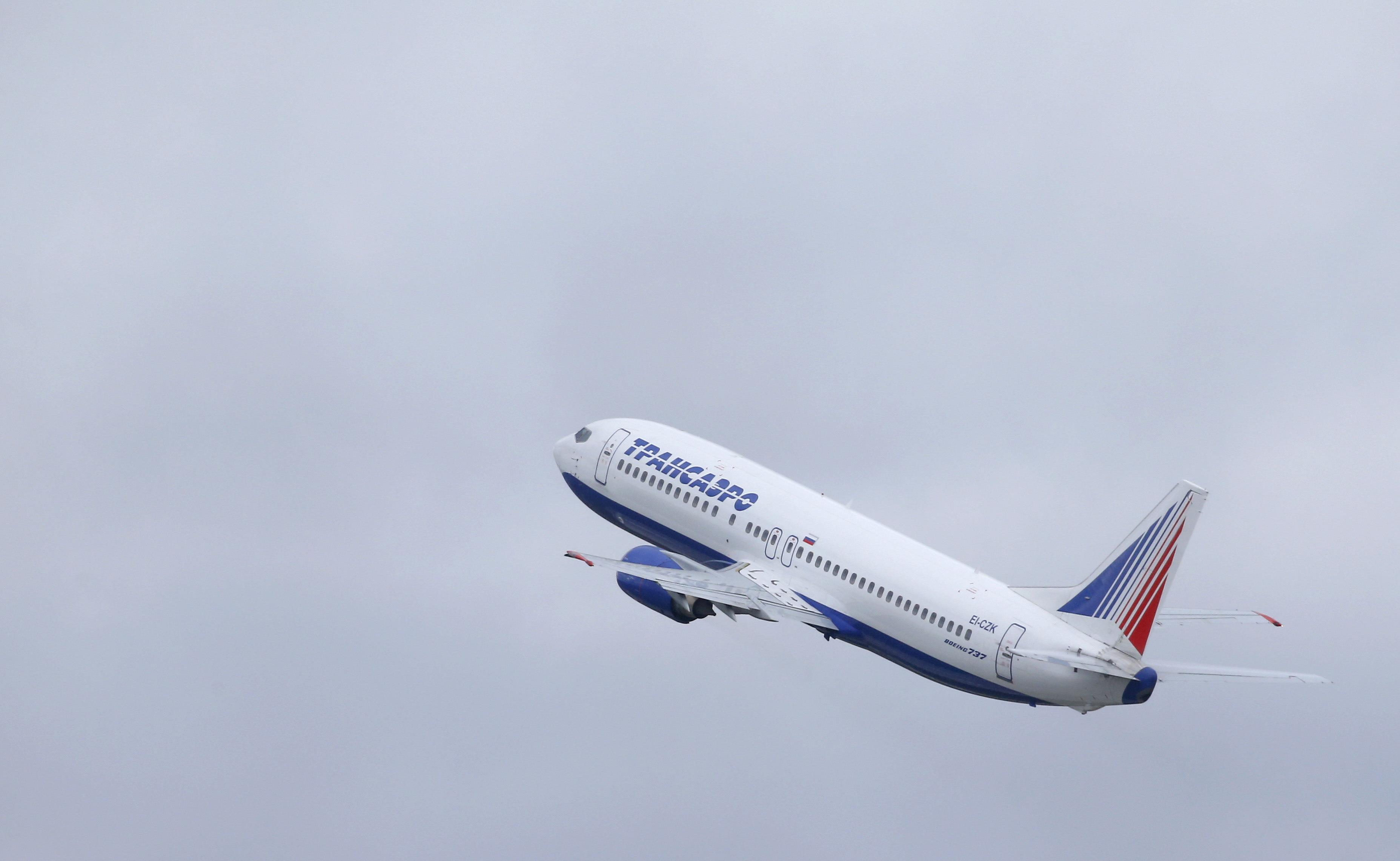 An aircraft takes off from Moscow's main airport