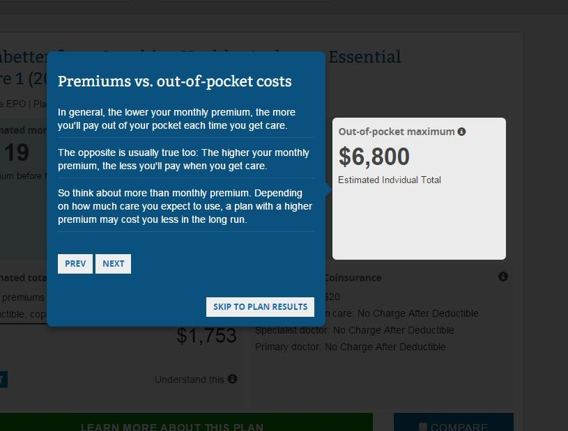 premium v out of pocket costs