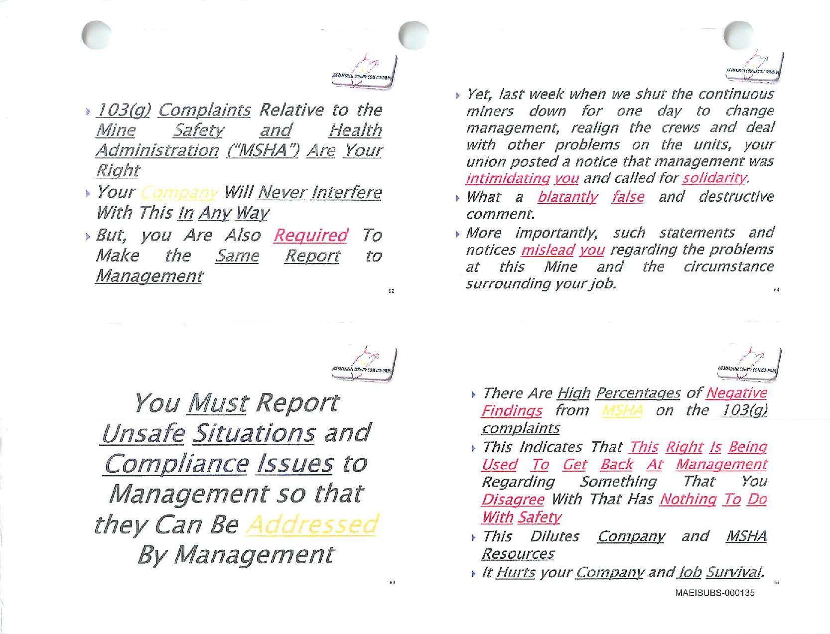 Slide About Complaints At Marshall Mine