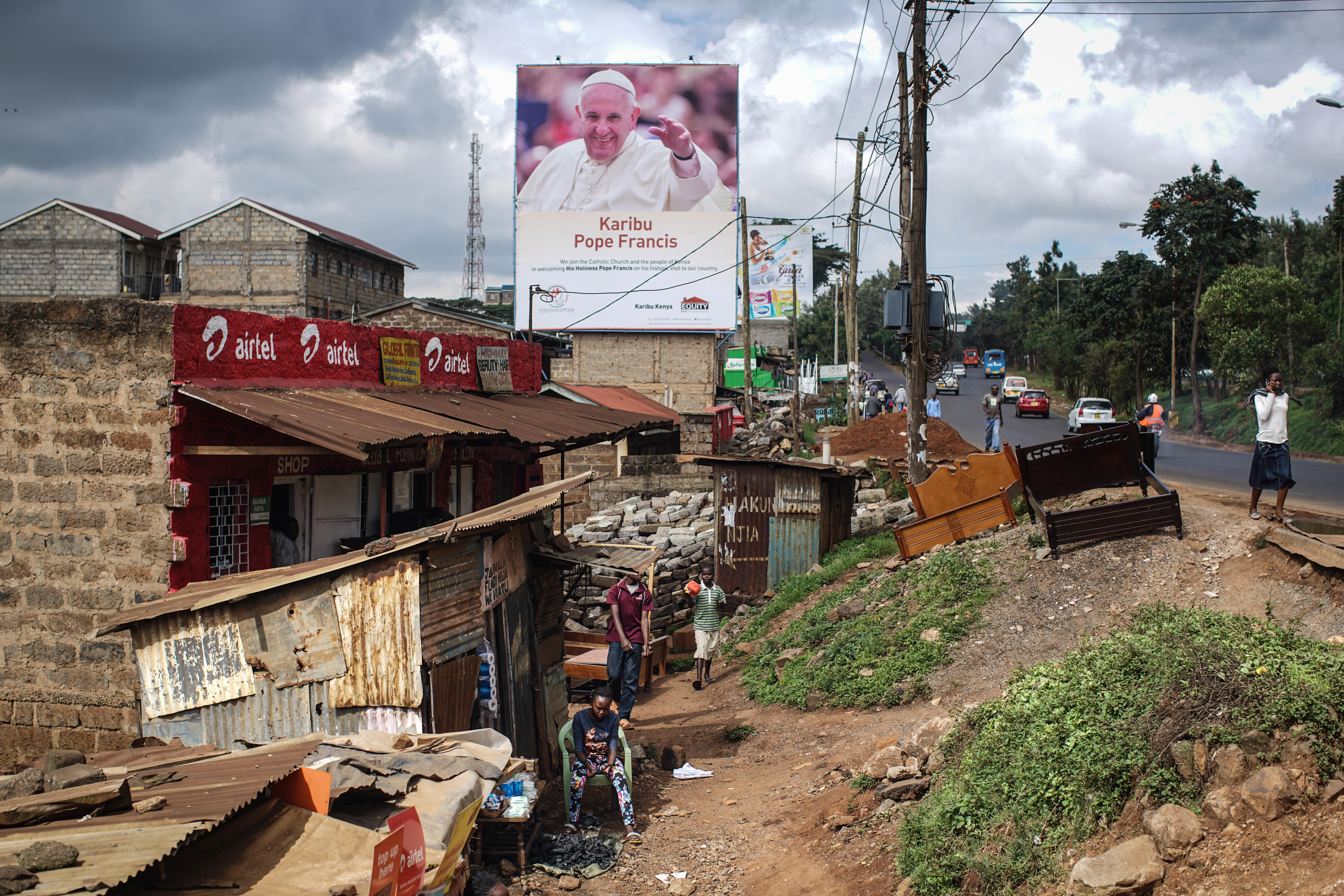 Pope Francis welcome poster in Kenya