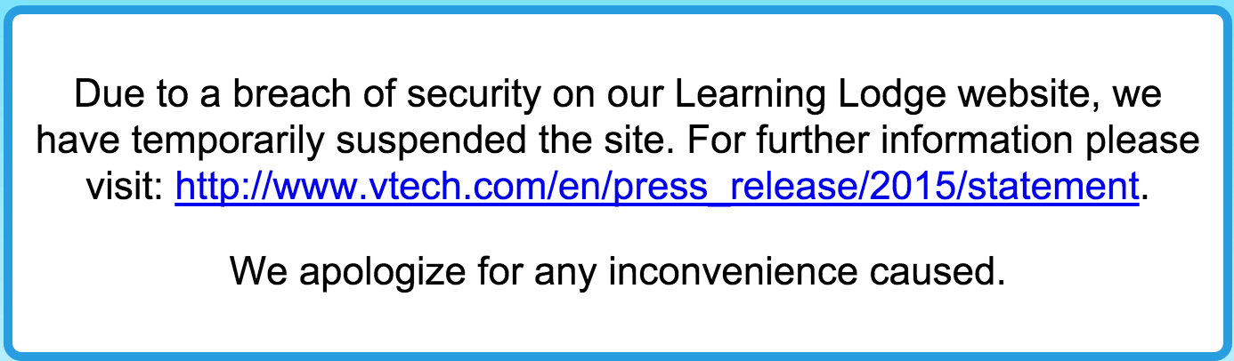 VTech Learning Lodge website offline