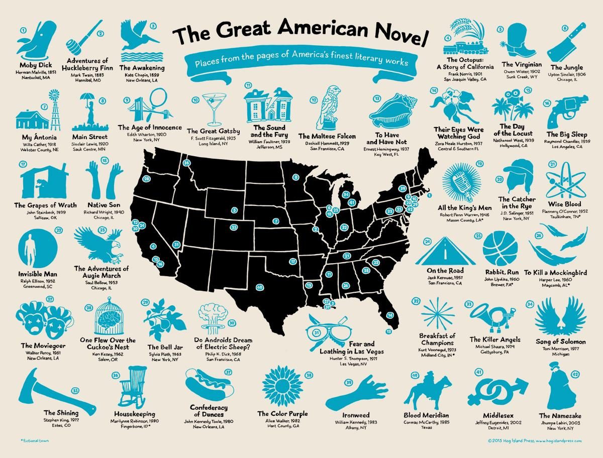 Great American Novel map