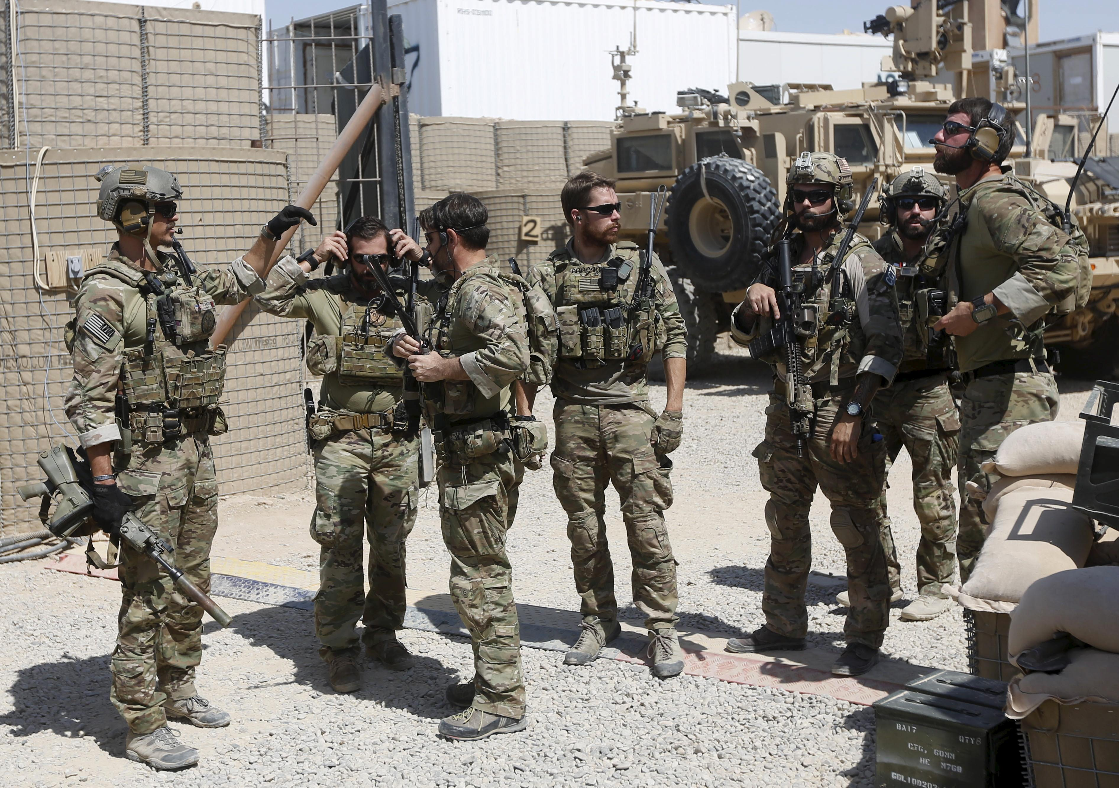 U.S. Special Forces troops preparing to leave a base in Afghanistan.