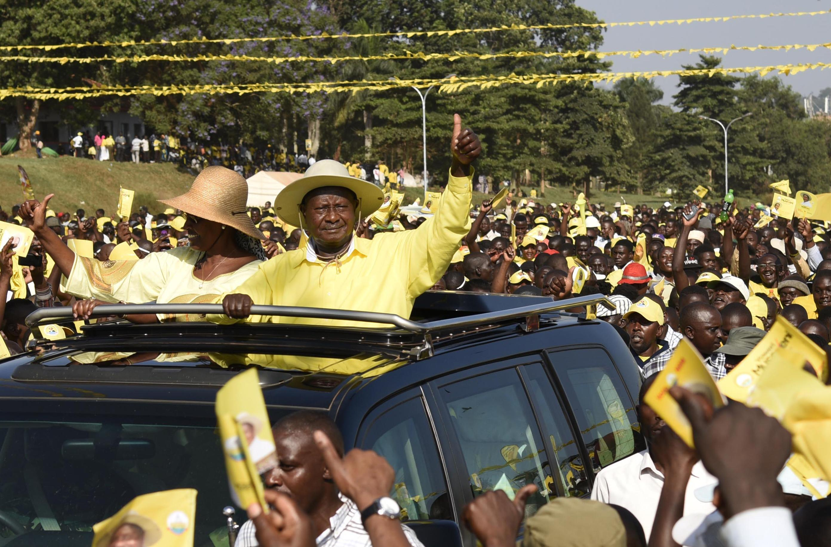 Yoweri Museveni election rally