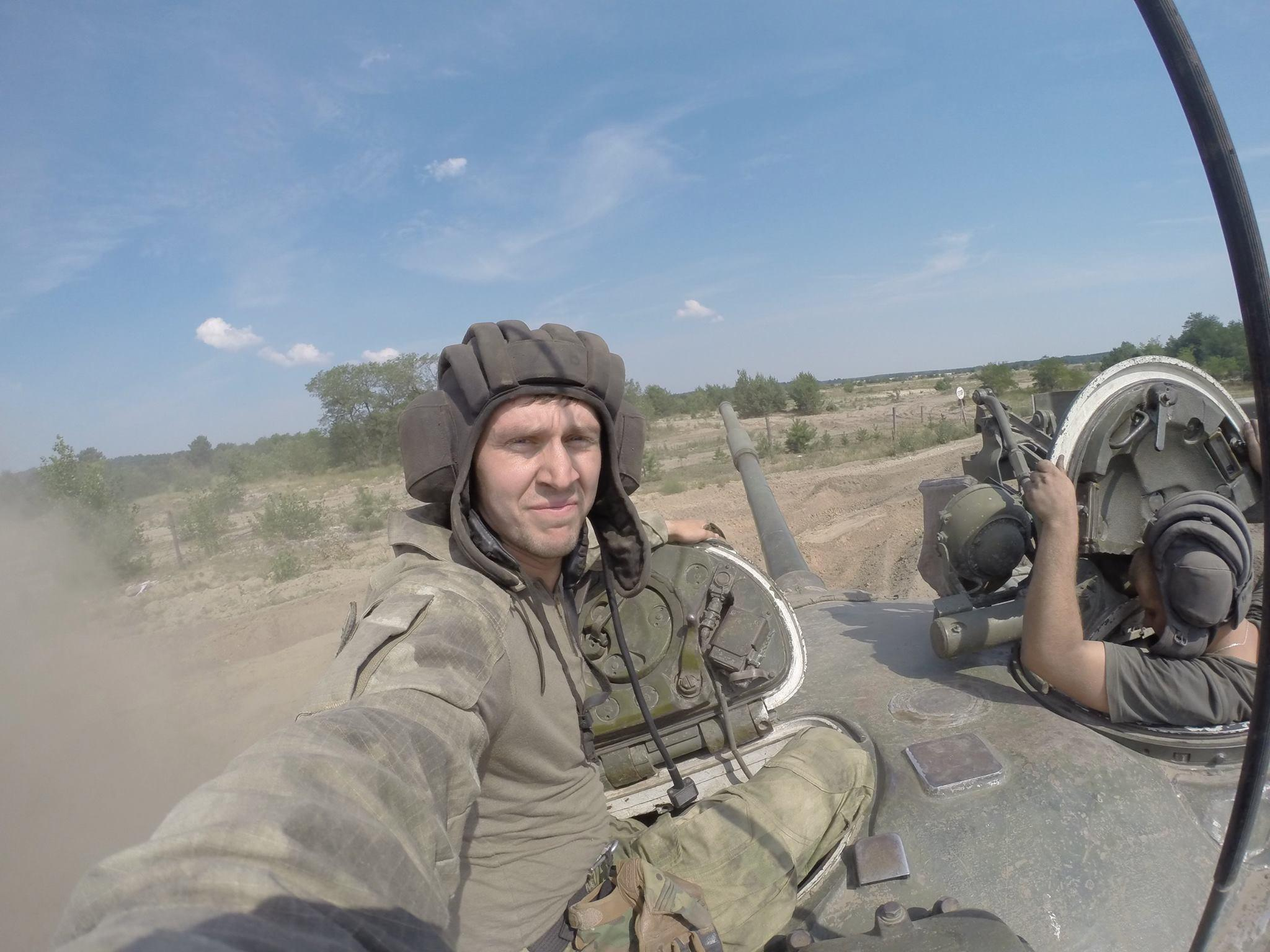 Ivan Rodichenko during on the top of a Ukrainian military tank during the battle for East Ukraine.