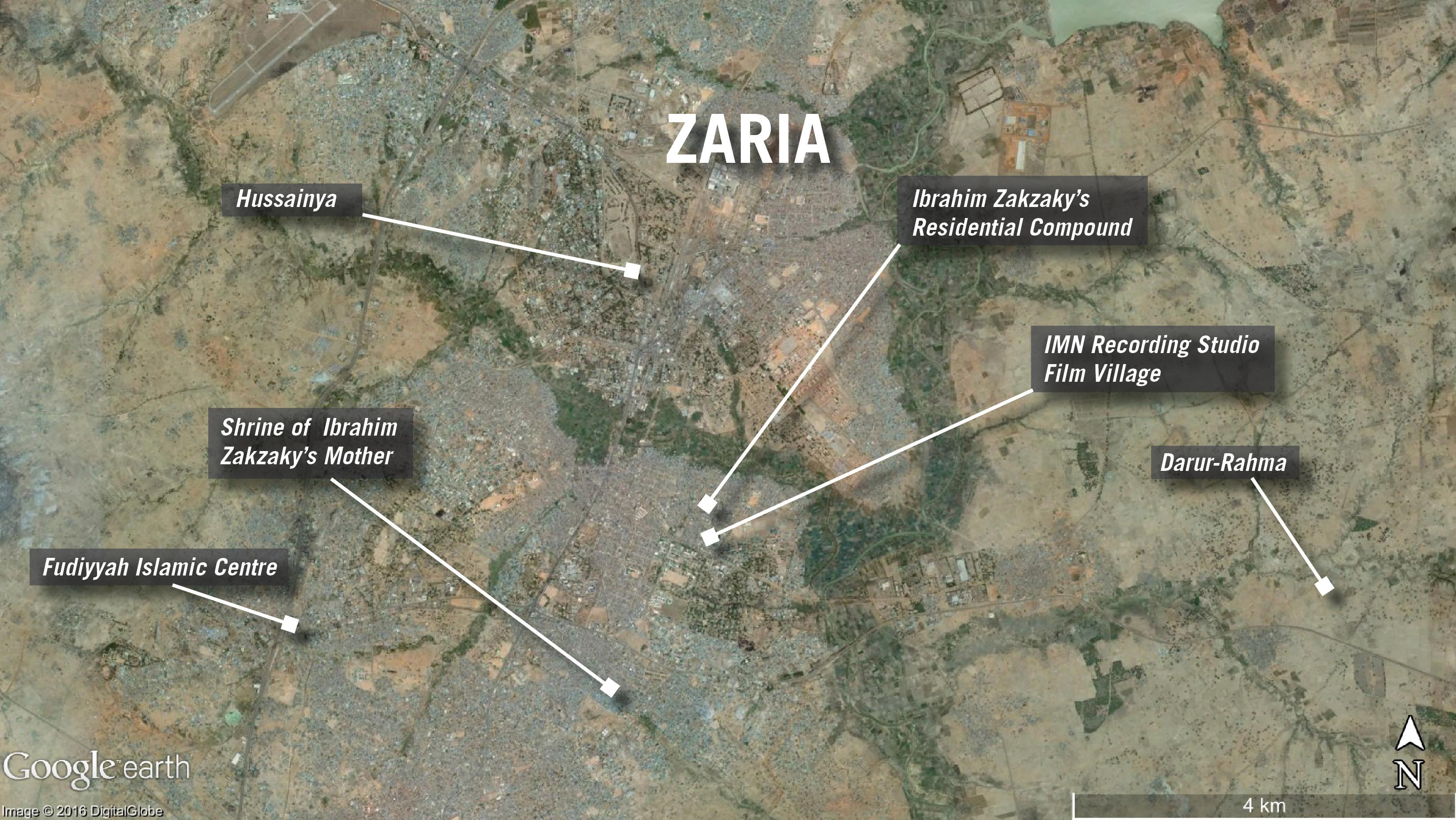 Map of demolitions in Zaria, Nigeria