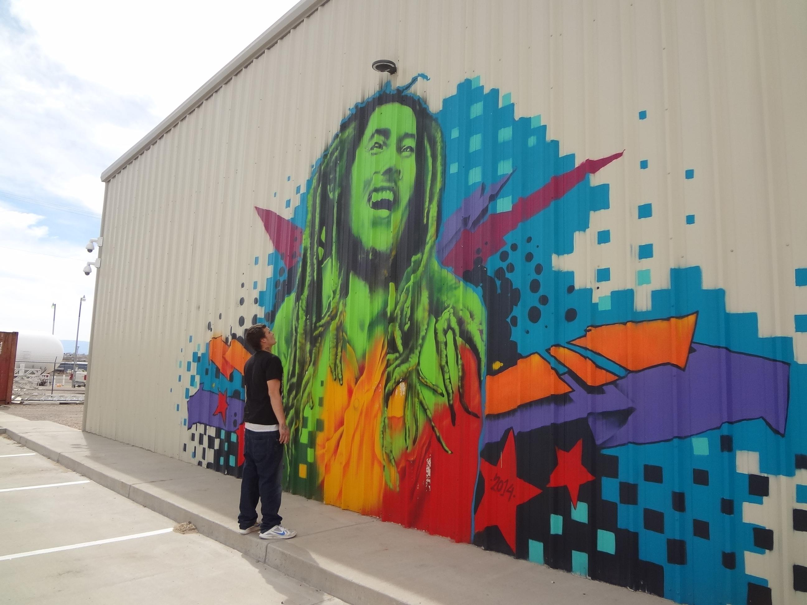 Devin Butts and Bob Marley mural