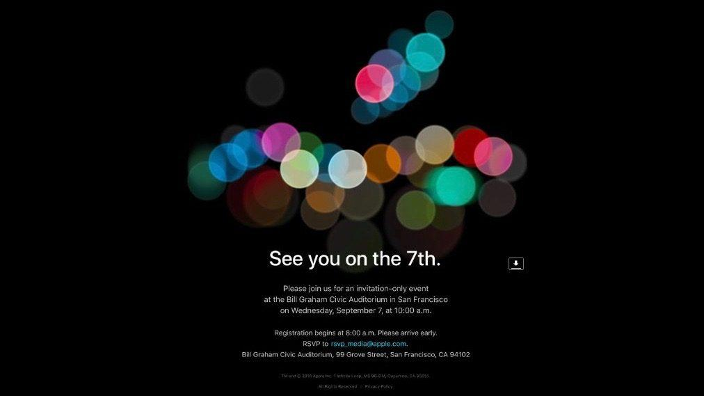 Apple Officially Announces Sept. 7 Event Where iPhone 7, iPhone 7 Plus Are Expected To Debut