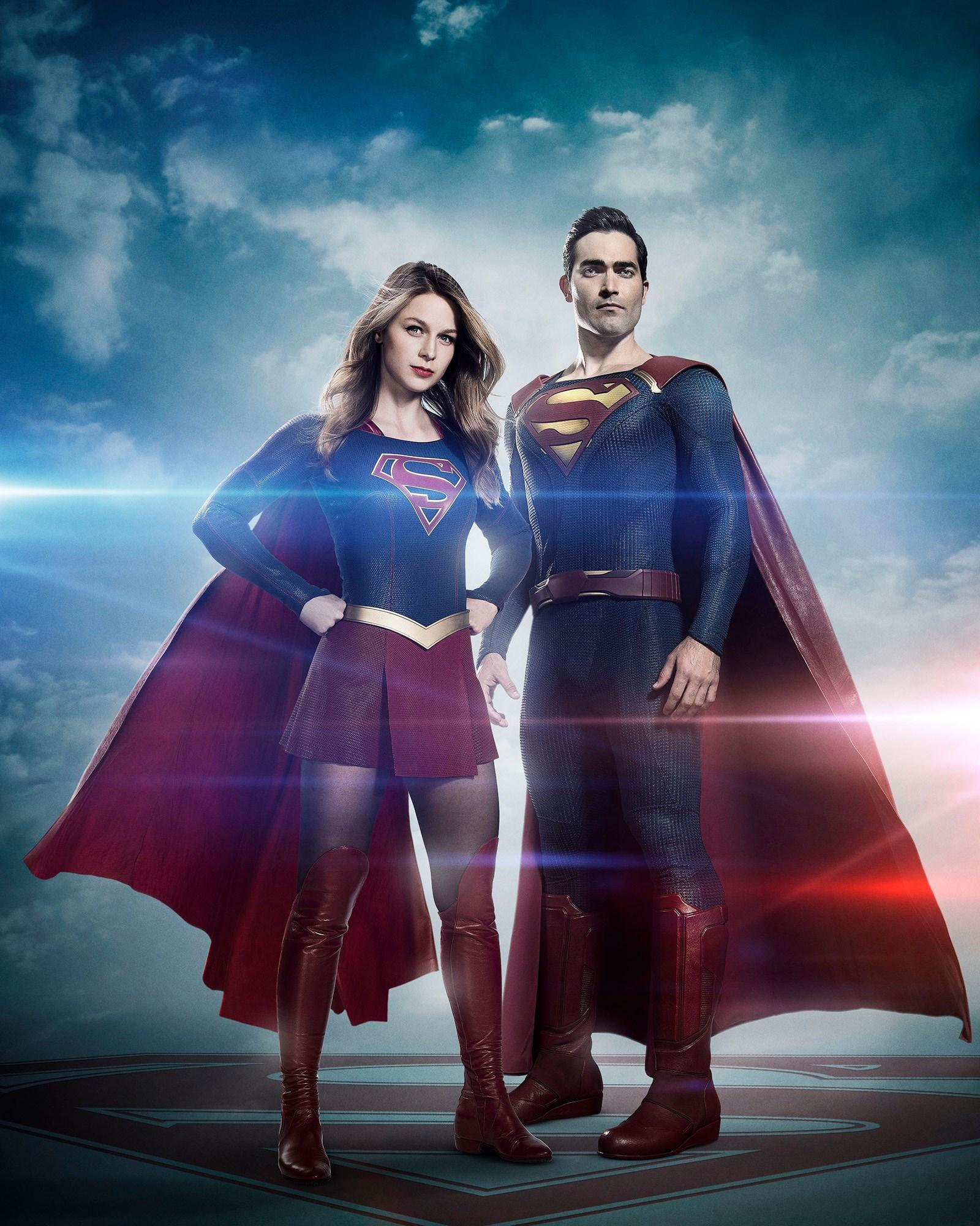 Melissa Benoist as Supergirl and Tyler Hoechlin as Superman
