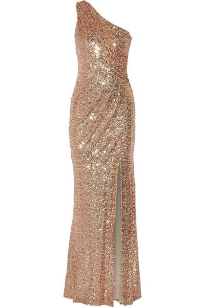 One Shoulder Sequined Tulle Gown