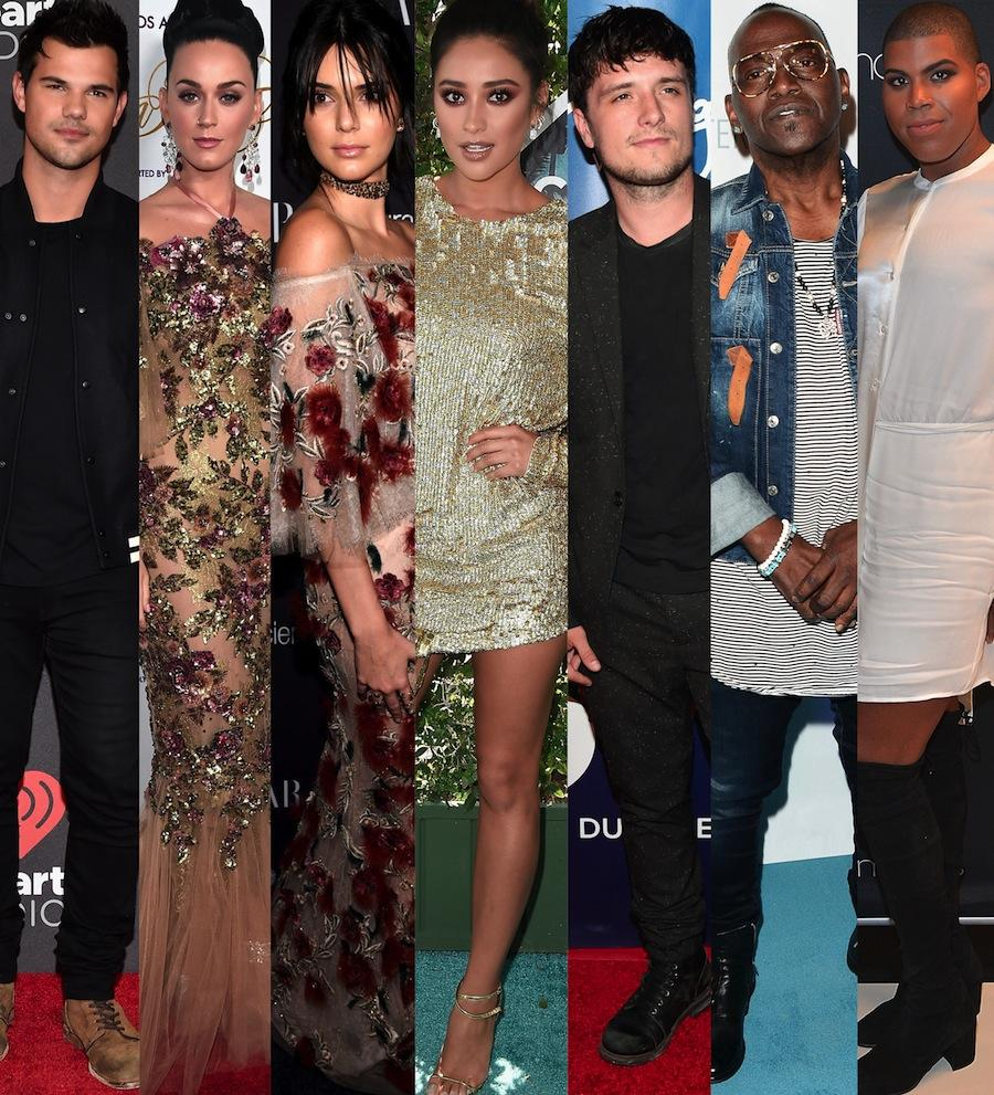 Taylor Lautner, Katy Perry, Kendall Jenner, Shay Mitchell, Josh Hutcherson, Randy Jackson and EJ Johnson