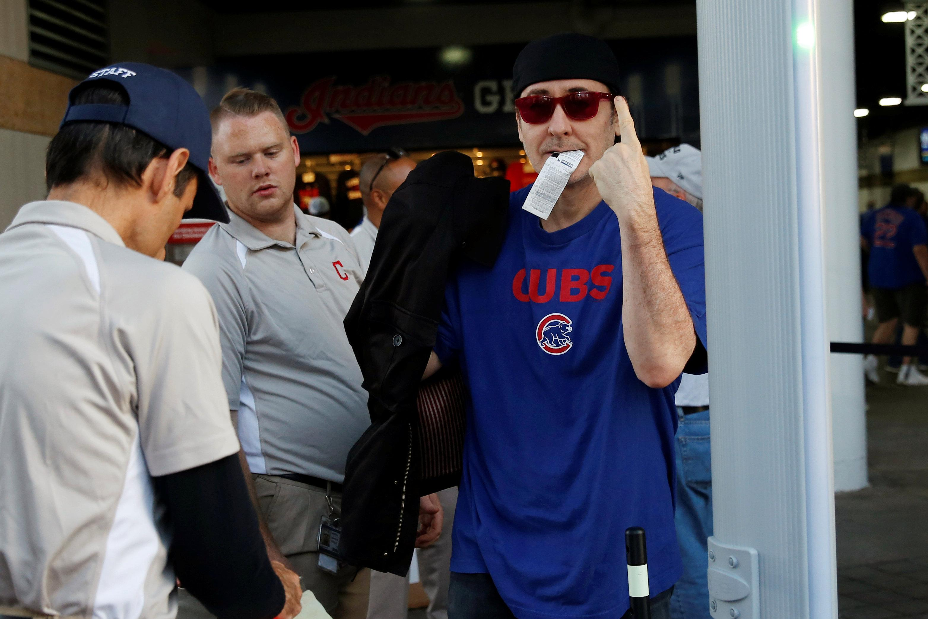6e185d5b7cb3d Actor John Cusack arrived early for the final game of the 2016 World Series  to cheer on the Chicago Cubs at Progressive Field in Cleveland