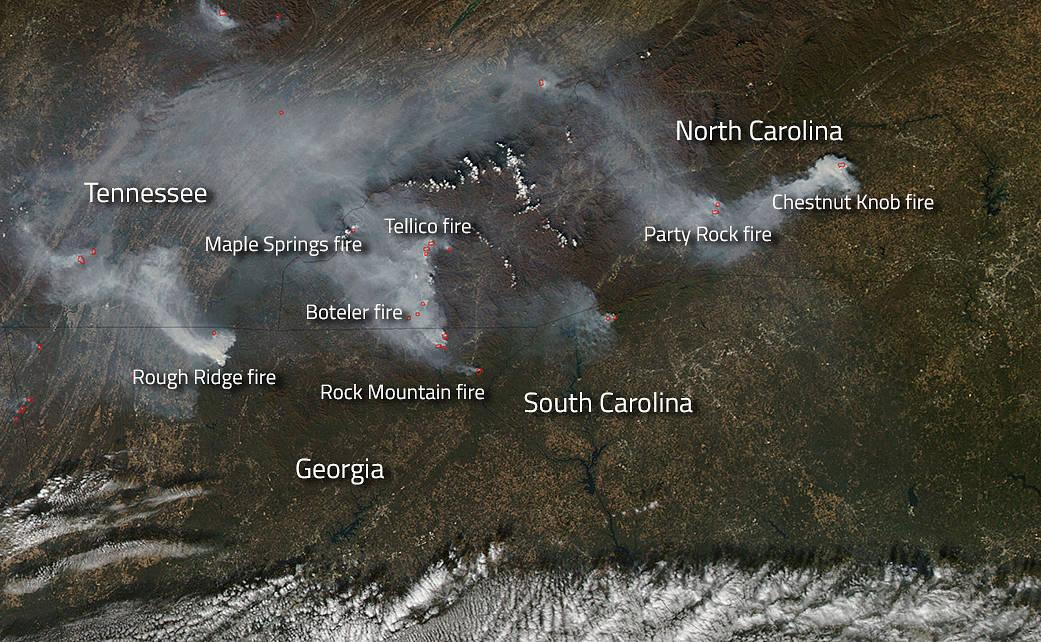 NASA Gatlinburg fire picture space