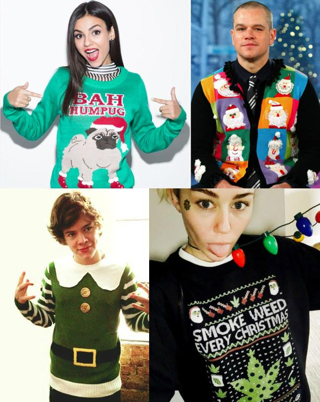 Ugly Christmas Sweaters: 15 Photos Of Celebrities In The Christmas Spirit [Harry Styles, Miley Cyrus, Matt Damon]