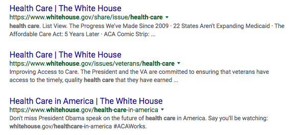 Google cache health care page White House