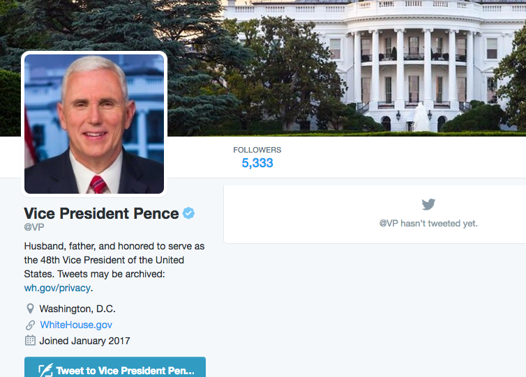 Mike Pence gets @VP Twitter handle.