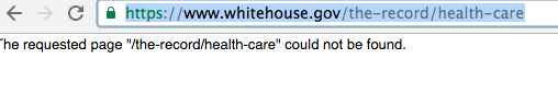 White House health care page deleted