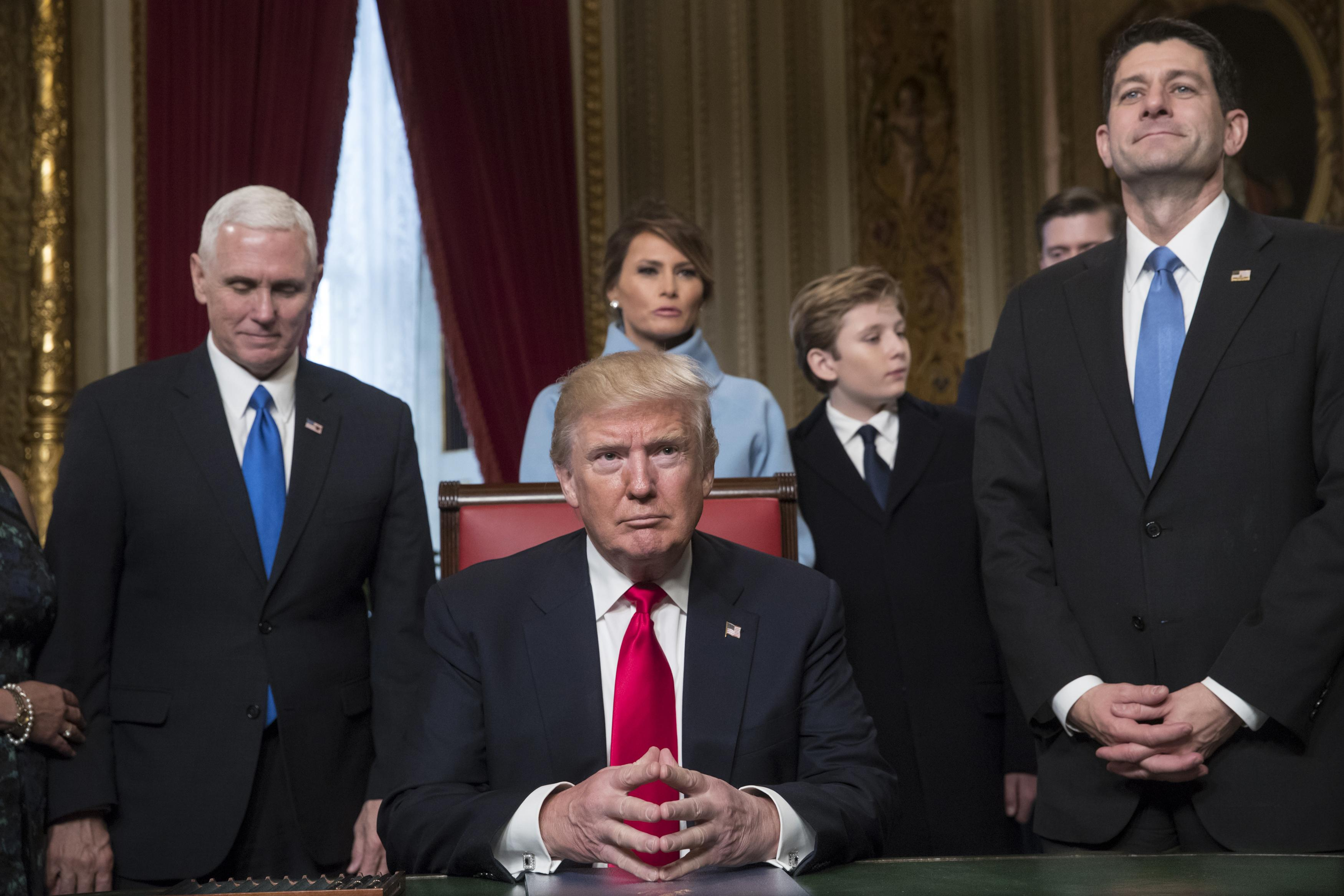 President Donald Trump Is Joined By The Congressional Leadership And His Family Before Formally Signing Cabinet Nominations Into Law In S