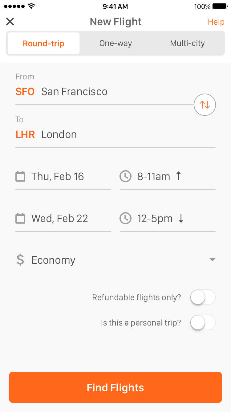 TripActions app for booking business trips.
