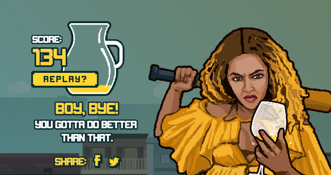 'Lemonade Rage' game based on Beyonce's 'Hold Up' video.