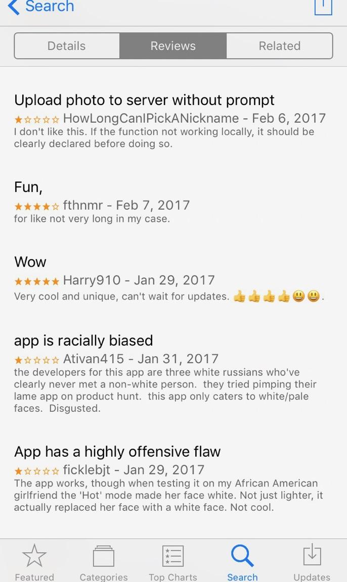 FaceApp iTunes Store reviews