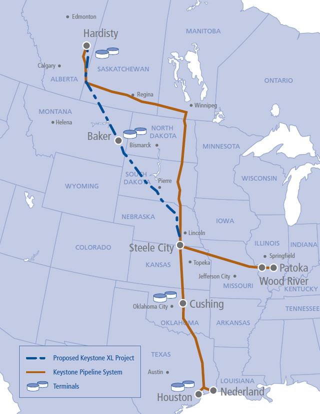 Keystone XL Pipeline Route Approved Map Jobs Environmental Impacts - Us pipeline 1950 map