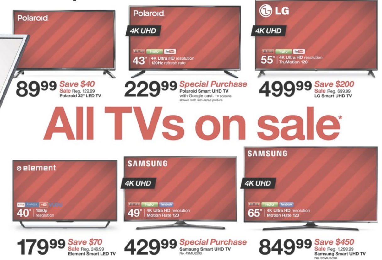Black Friday 2017 Tv Deals Walmart Best Buy Target Amazon More Compared