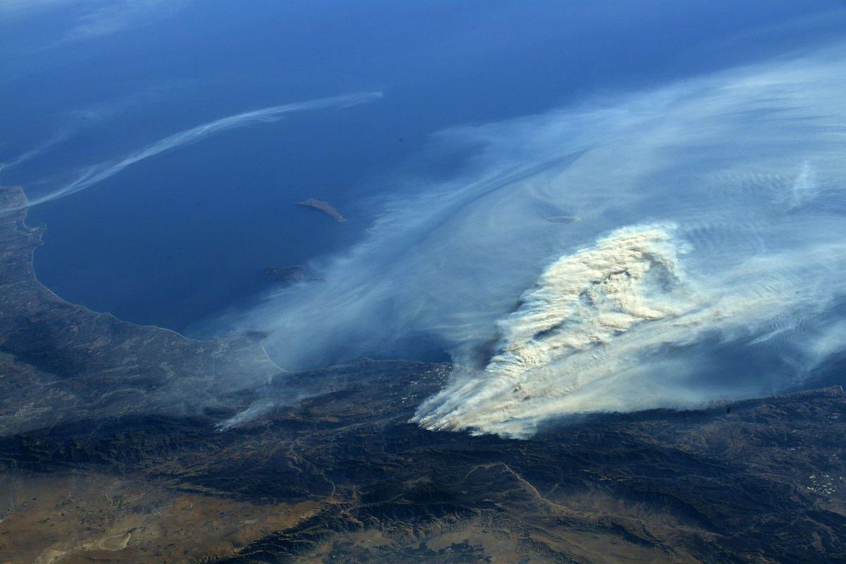 california fire from ISS, ocean