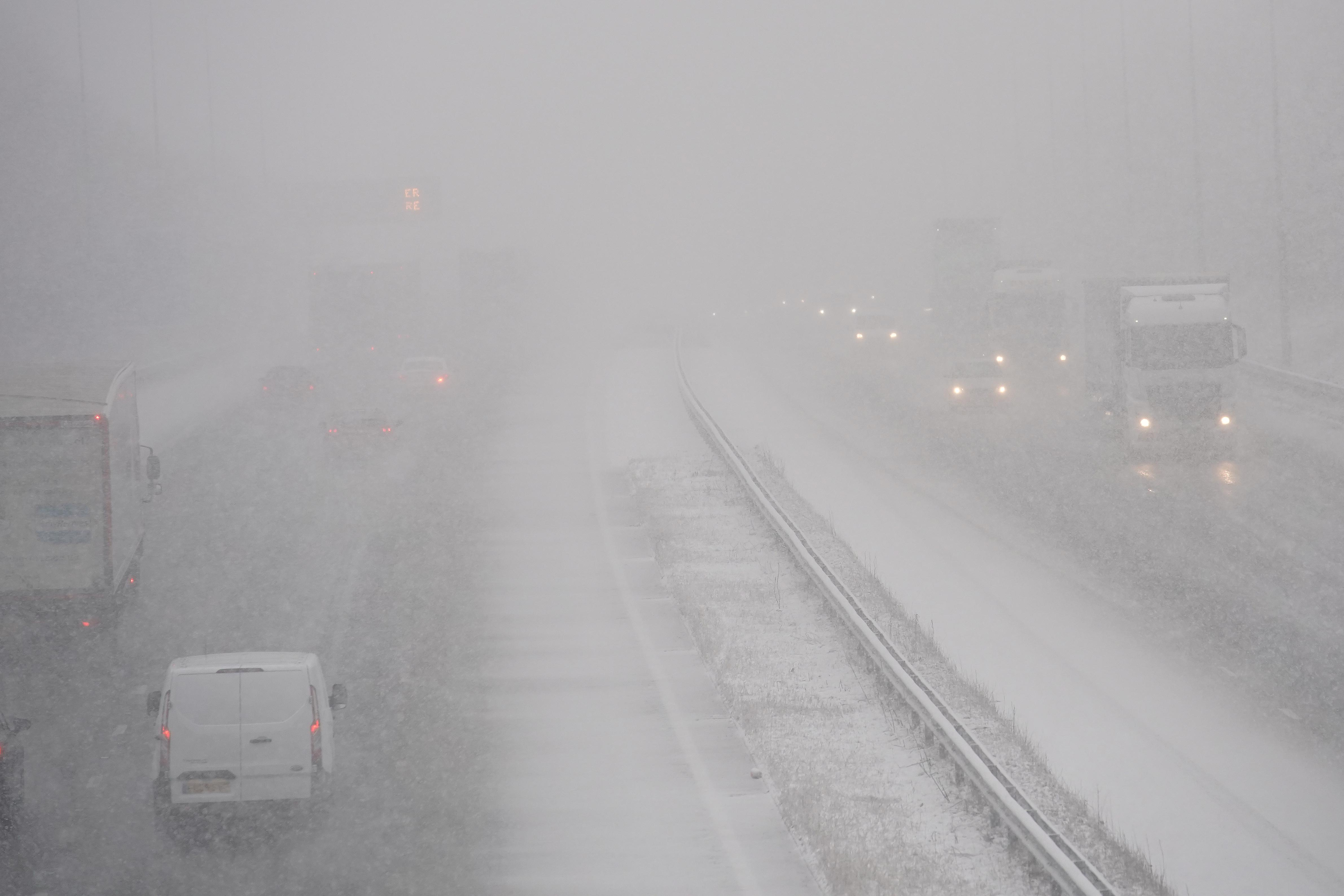 Several cars were involved in a crash on a snowy Michigan Interstate Highway
