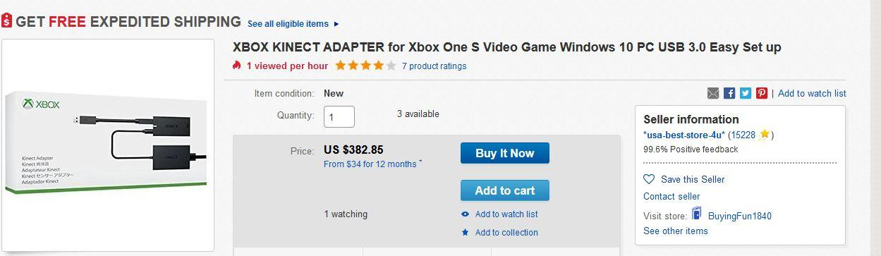 Kinect Adapter Used Prices Soar After Microsoft Discontinues