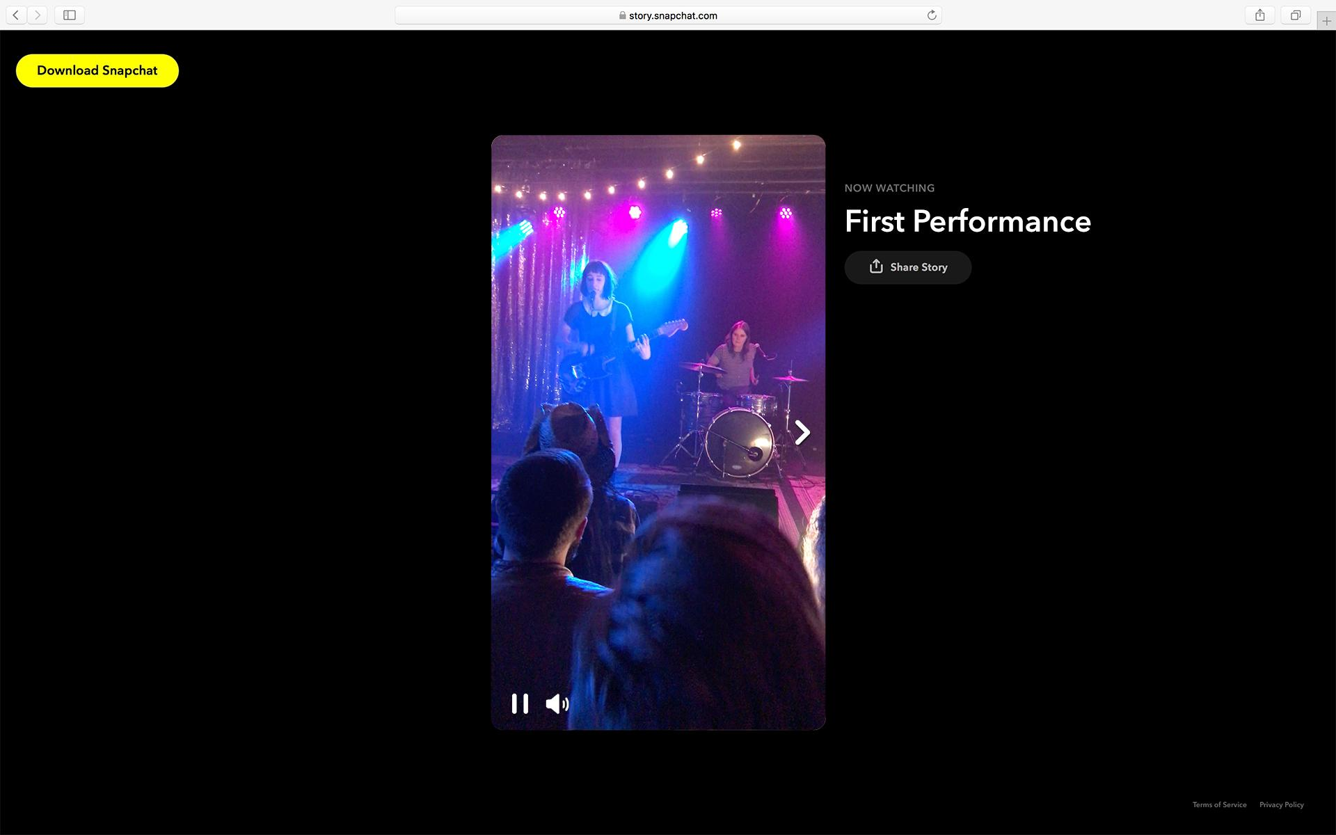 Concert Example share story snapchat