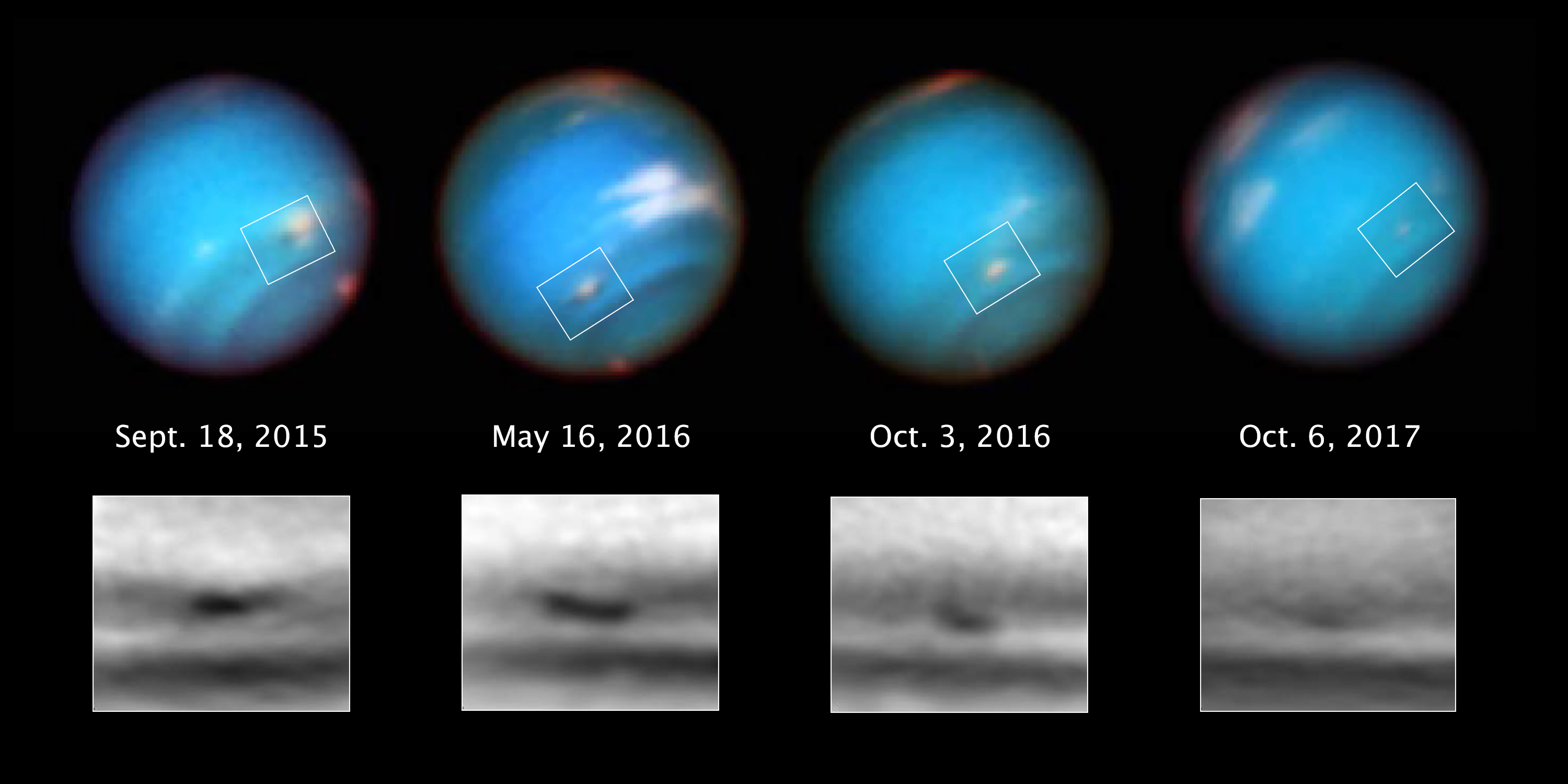 Hubble captures Neptune's mysterious shrinking storm