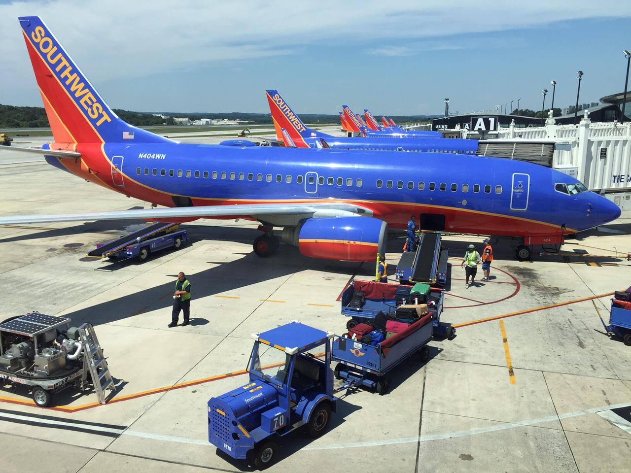 Driver transported after vehicle crashes into Southwest plane at BWI airport