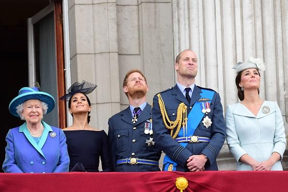 Queen Elizabeth II, Prince William, Kate Middleton, Prince Harry and Meghan Markle