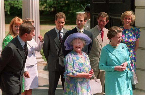 Queen Mother, Prince Andrew, Prince Edward, Sarah Ferguson, Princess Diana, Prince Charles and Queen Elizabeth II