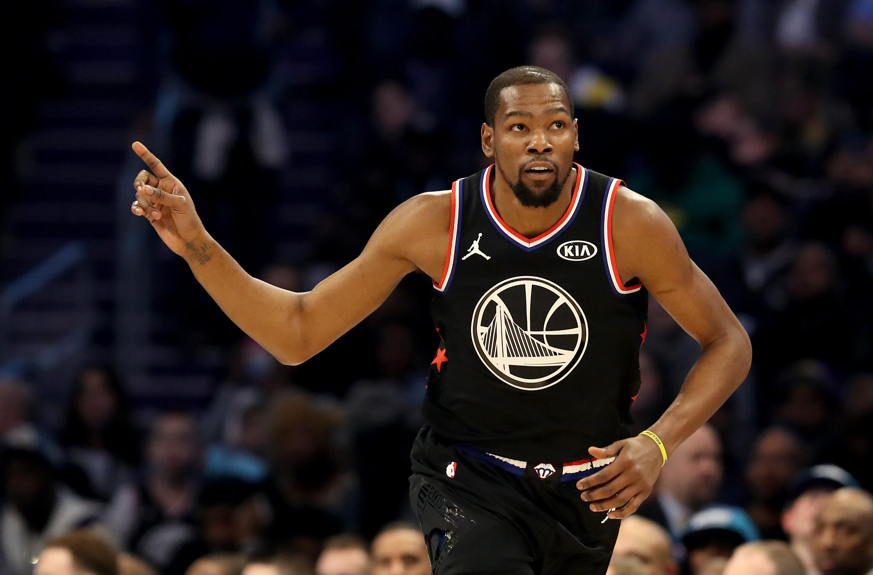 2bc853f4e90a Kevin Durant  35 of the Golden State Warriors and Team LeBron reacts in the  second quarter during the NBA All-Star game as part of the 2019 NBA All-Star  ...