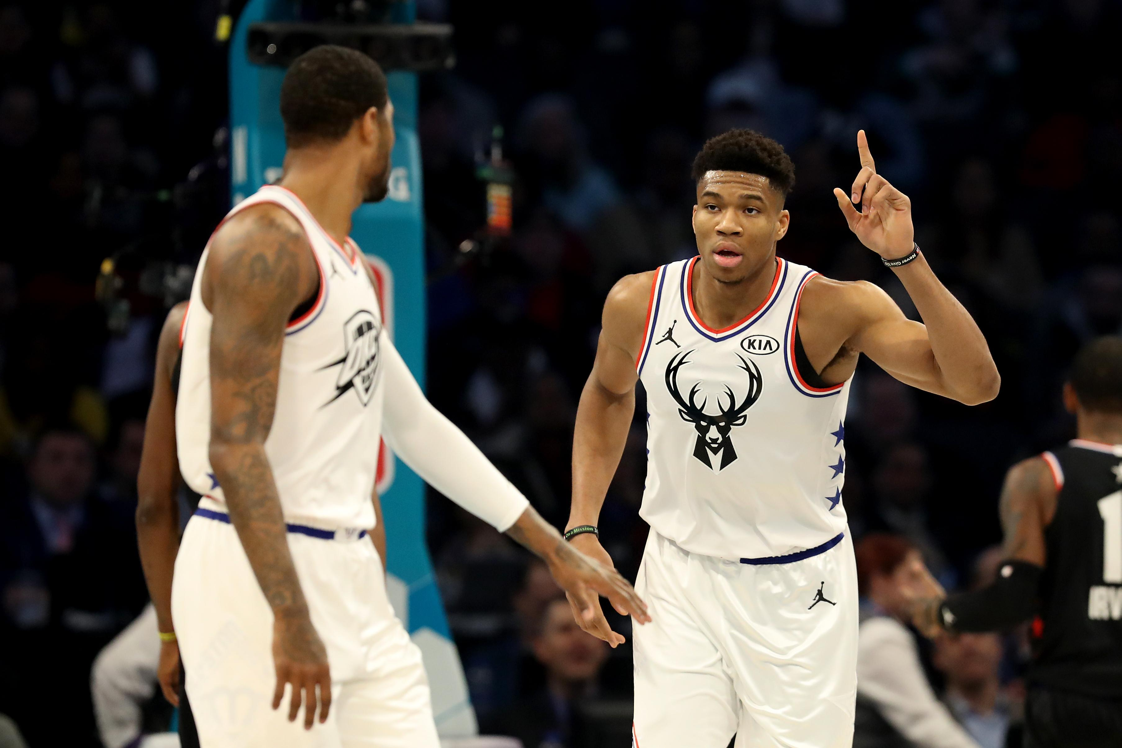 0f1ad3365eb Giannis Antetokounmpo  34 of the Milwaukee Bucks and Team Giannis reacts  against Team LeBron in the first quarter during the NBA All-Star game as  part of ...