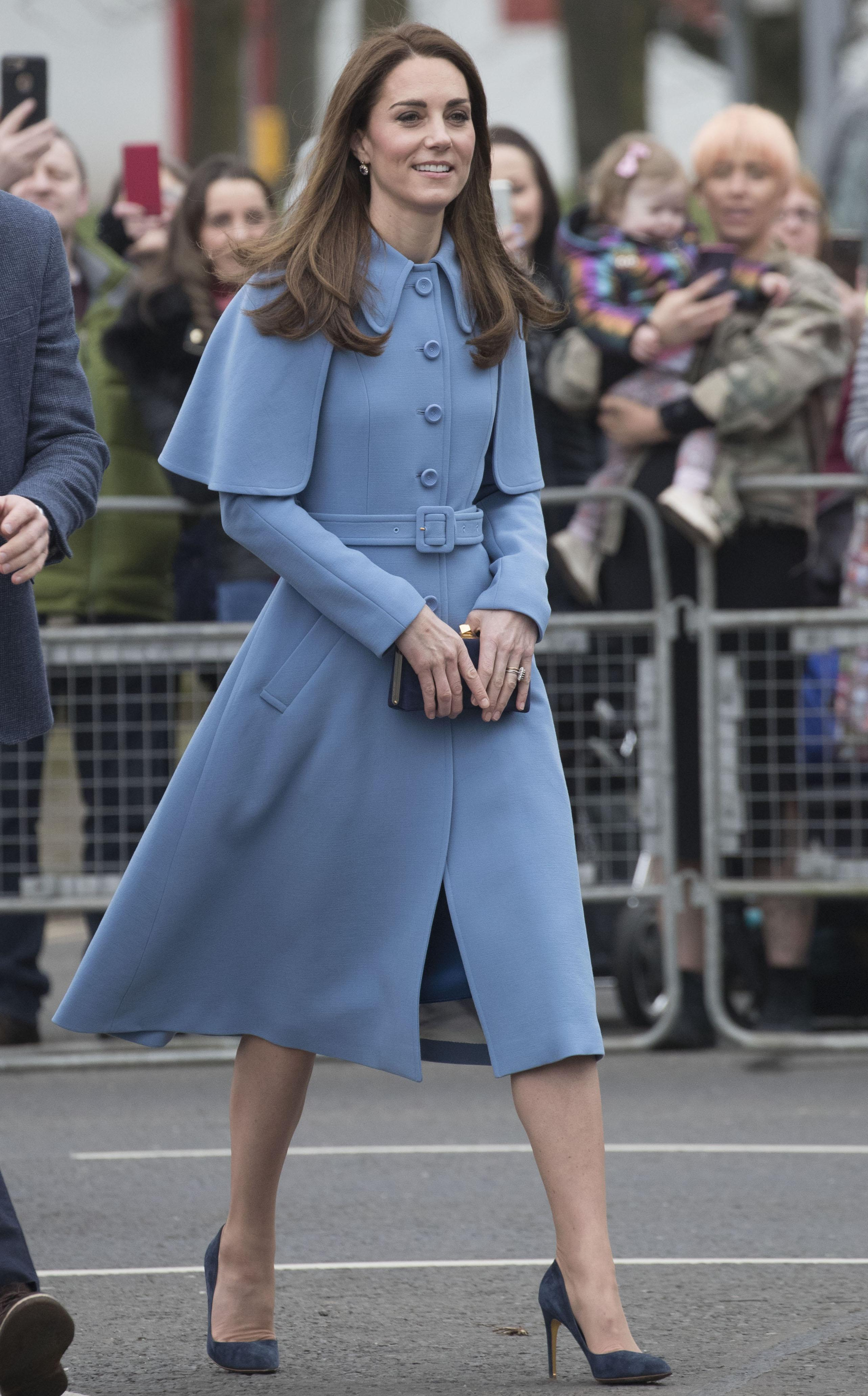 Kate Middleton Stuns In Chic Mulberry Cape Coat Amid