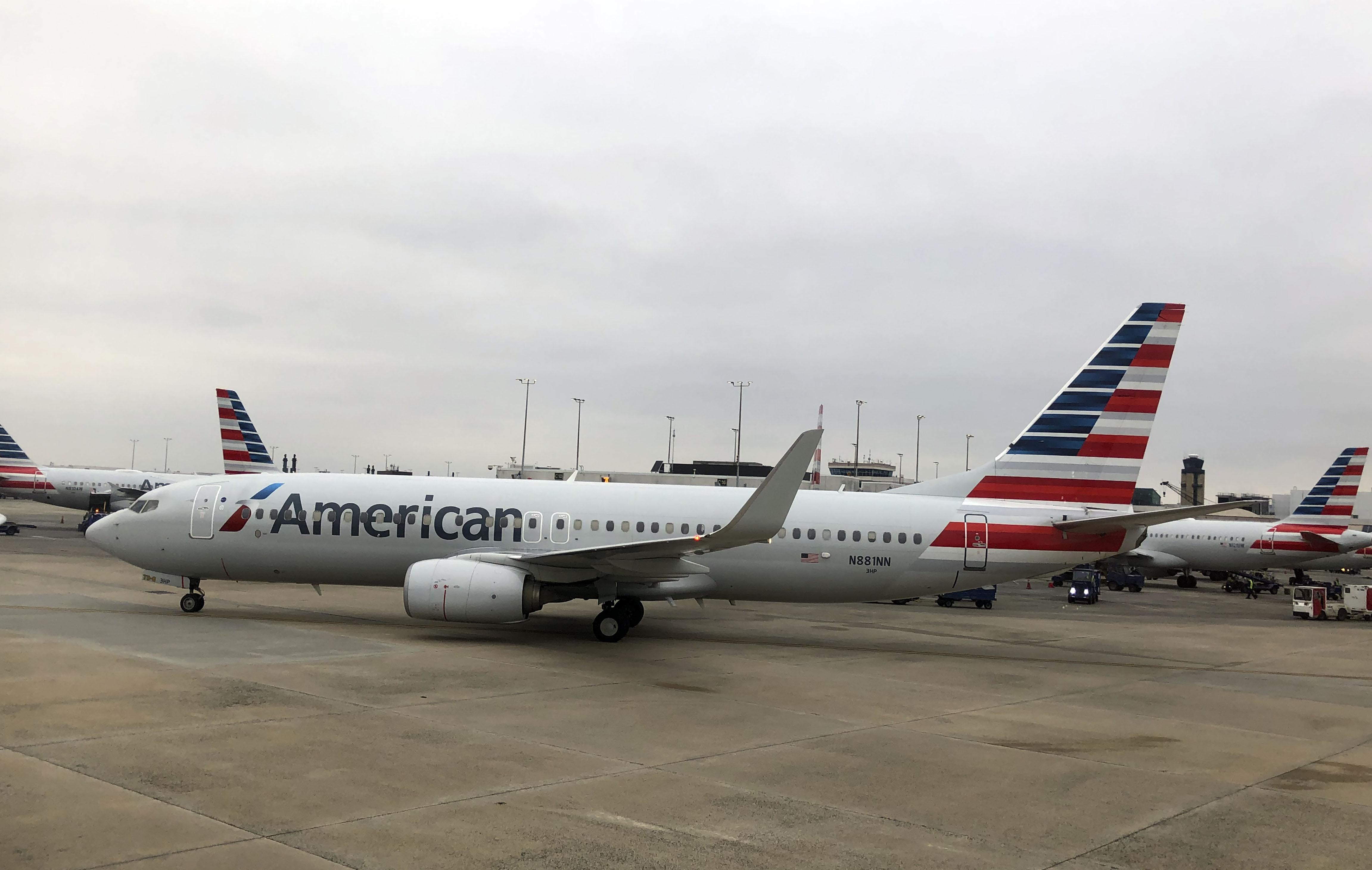 American Airlines plane at terminal