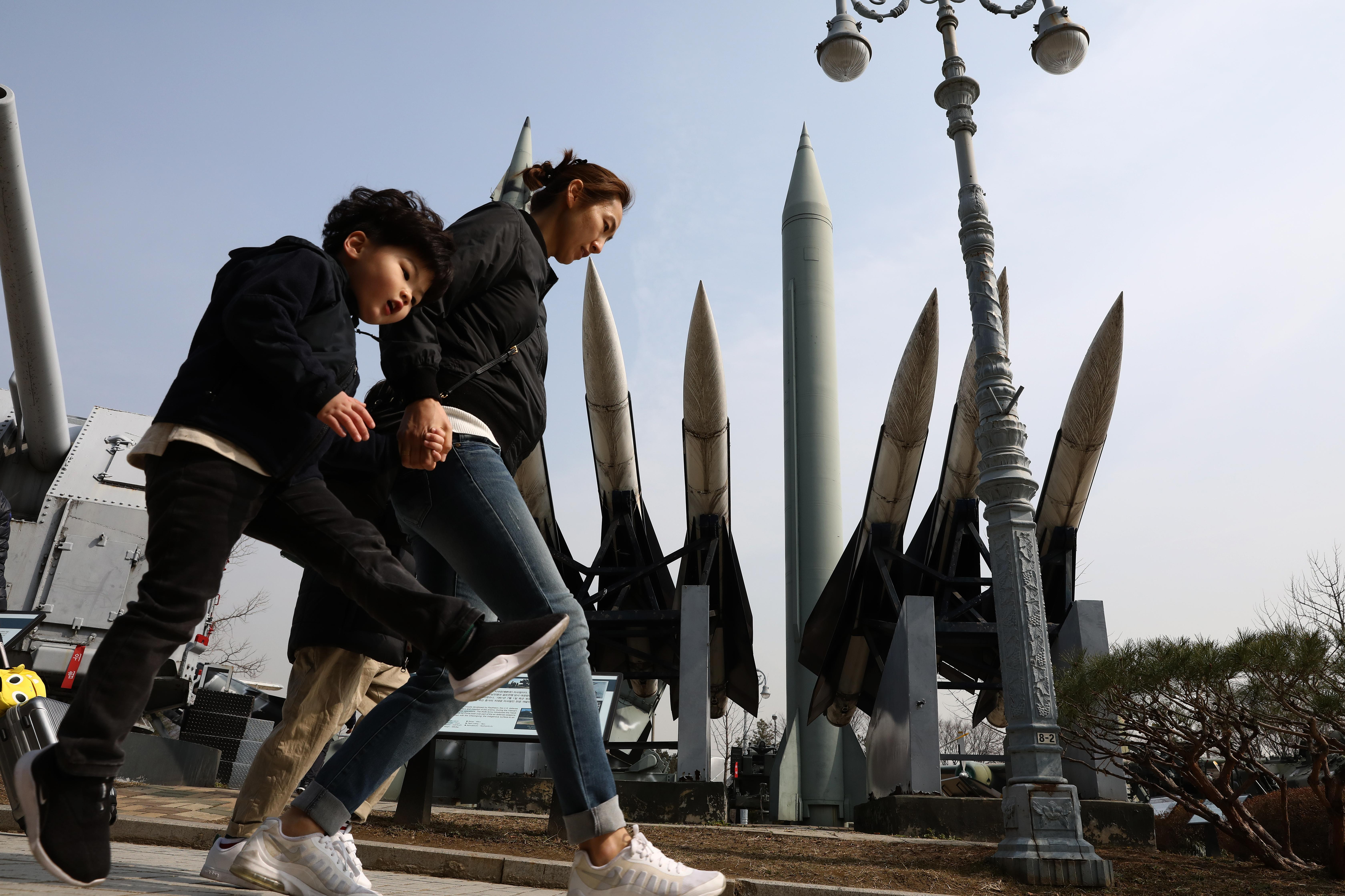 War memorial with missiles