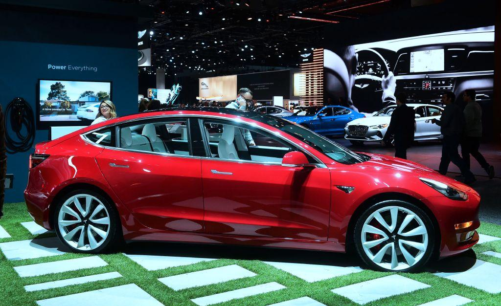 The Tesla Model 3 On Display In Los Angeles California Por 3s Have Driven More Than 1 Billion Electric Miles Record Time