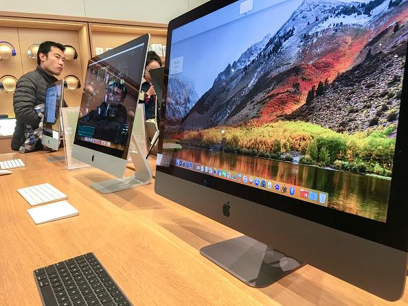 An iMac pro shown in an Apple store.